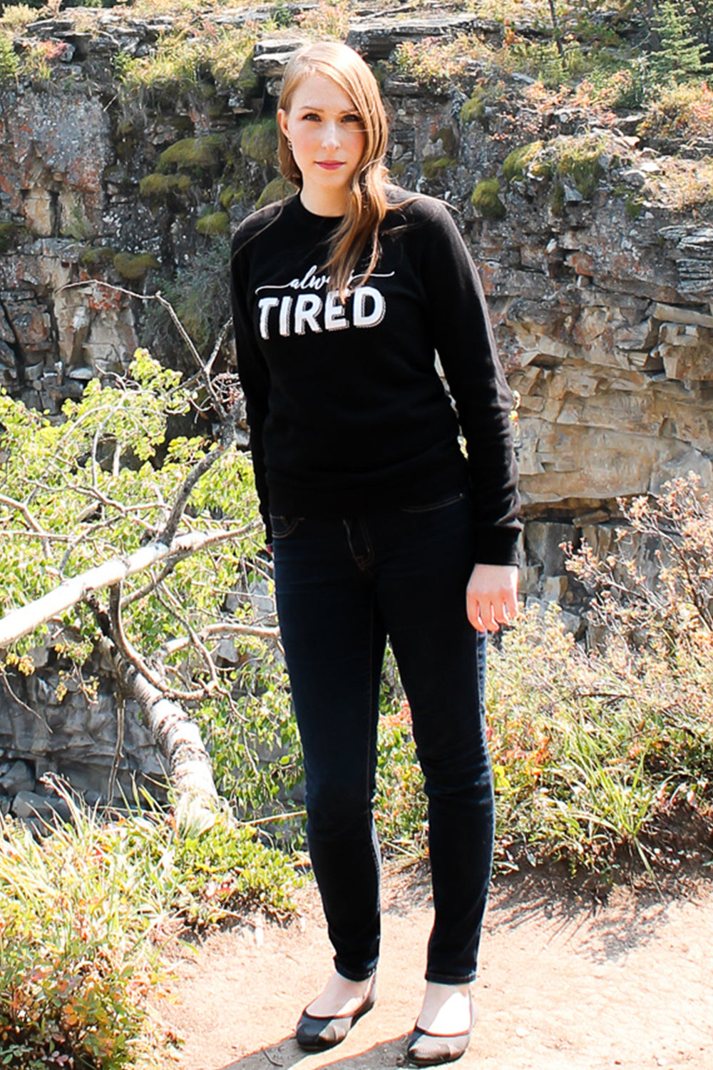 Always Tired crewneck sweatshirt. Chronic illness clothing. Fibromyalgia, chronic fatigue syndrome. Pretty Sick Designs.