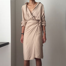 Champagne v-neck silk wrap dress k fashion