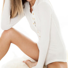White ribbed long sleeve bodysuit with gold buttons k fashion