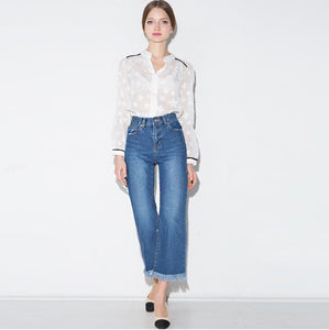 White sheer shirt with star pattern Beautiful Ugly k fashion