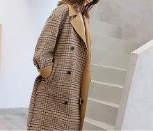Plaid oversized double breasted coat with turndown tan collar k fashion
