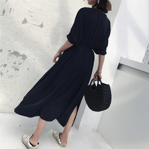 Jessie Dress Resort Wear Navy Blue Oversized V-Neck Silk Beautiful Ugly Perth k fashion