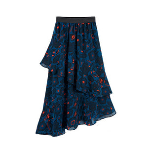 Blue chiffon skirt with elastic waist Beautiful Ugly k fashion