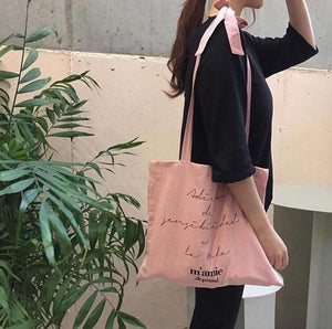 Millennial pink reusable shopping canvas bag Beautiful Ugly k fashion