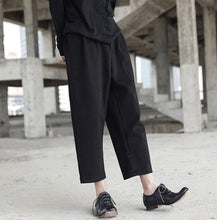 Black woollen harem pants thick fabric elastic waist k fashion