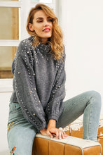 Grey sweater jumper with pearl detail Beautiful Ugly k fashion