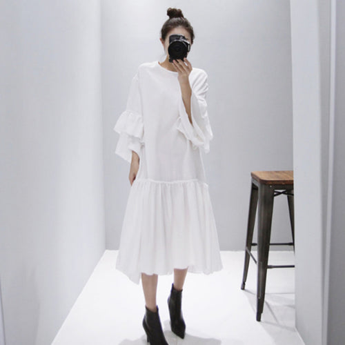 White oversized ruffled dress Morgan Dress Beautiful Ugly k fashion