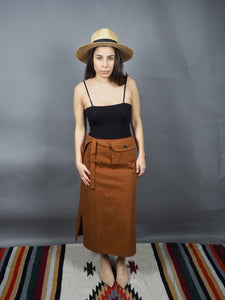 Tan mid length skirt with detachable belt and pouch k fashion