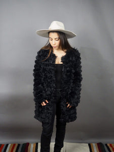 Oversized shearling black fluffy jacket k fashion