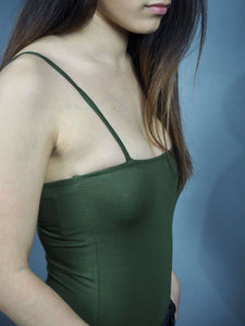 Army green bodysuit spaghetti straps straight square neck Beautiful Ugly k fashion