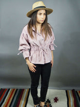Pink corduroy shirt with tie waist and tie sleeves Beautiful Ugly k fashion