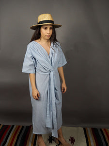 Blue white cotton oversized shirt with sash detail Beautiful Ugly k fashion