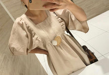 Cream oversized bib front linen dress Beautiful Ugly k fashion