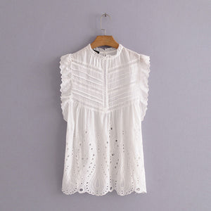 Reese Top White cotton sleeveless top lace detail Beautiful Ugly k fashion