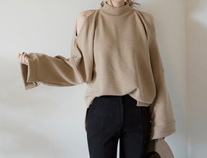 Stella Sweater Cream Open Shoulder Oversized Mock Neck Beautiful Ugly k fashion
