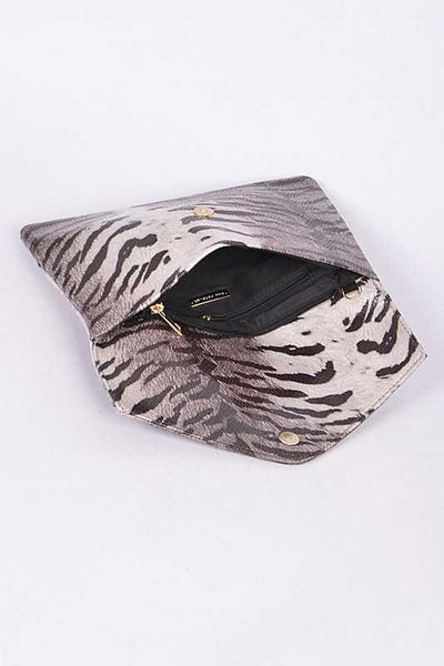 Tiger Print Envelope Clutch