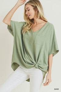Solid Boxy Pocket Top