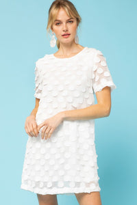 White Textured Polka Dot Dress