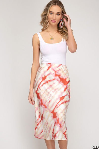 Tie Dyed Printed Woven Midi Skirt