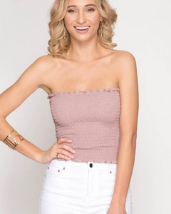Strapless Smocked Bandeau Top