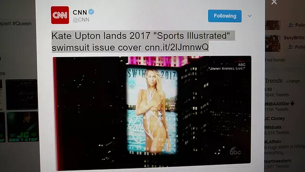 ABC Jimmy Kimmel Live - SI Swimsuit Cover Announcement (Twitter Video)