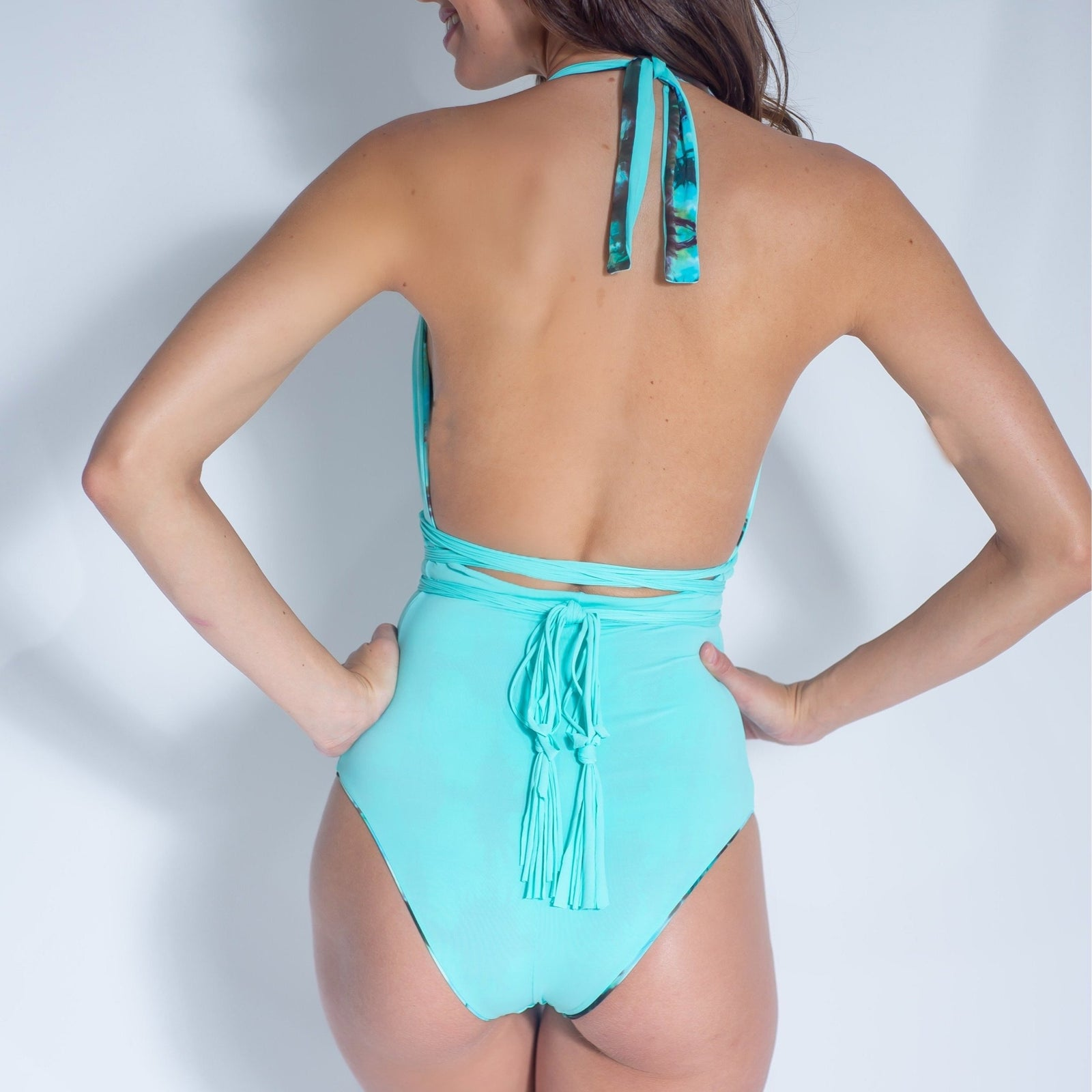 Camille eco-friendly, hand dyed, reversible and transformable one piece in Aruba - charmosaswimwear.com