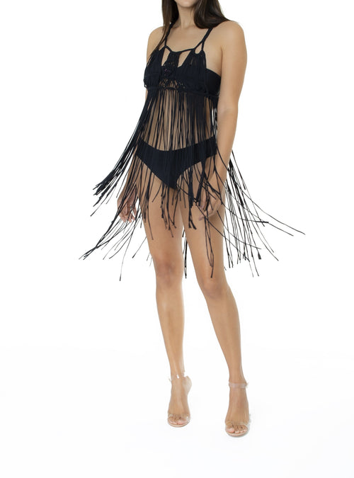 Bella handcrafted macrame swimwear cover up - charmosaswimwear.com