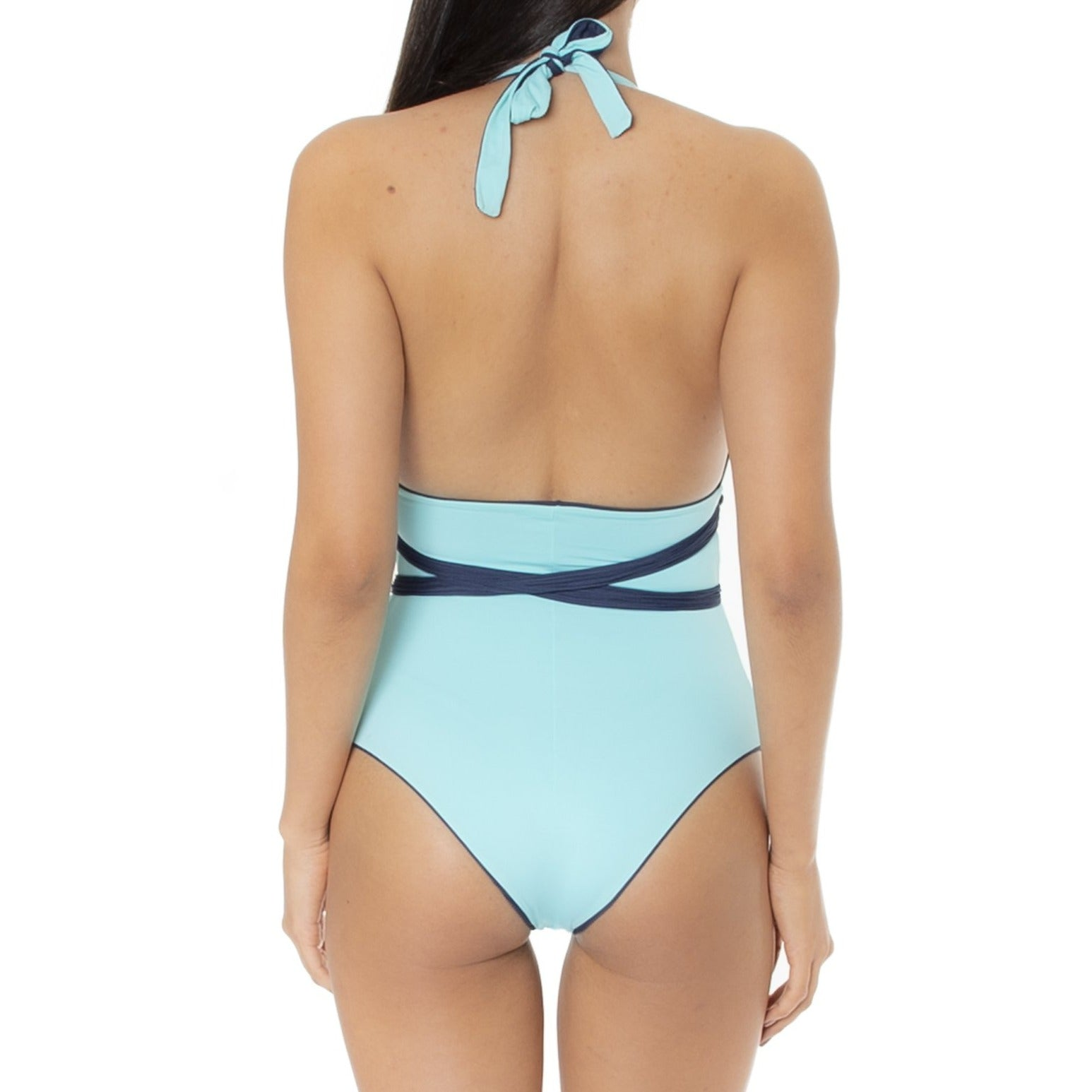 Camille Turquoise/Navy Reversible Bodysuit with Removable Macrame - charmosaswimwear.com