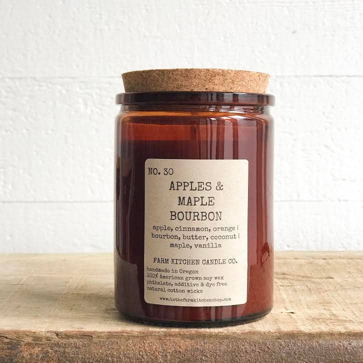 Farm Kitchen Candle Co. - NEW FALL!  Apples & Maple Bourbon soy candle- amber