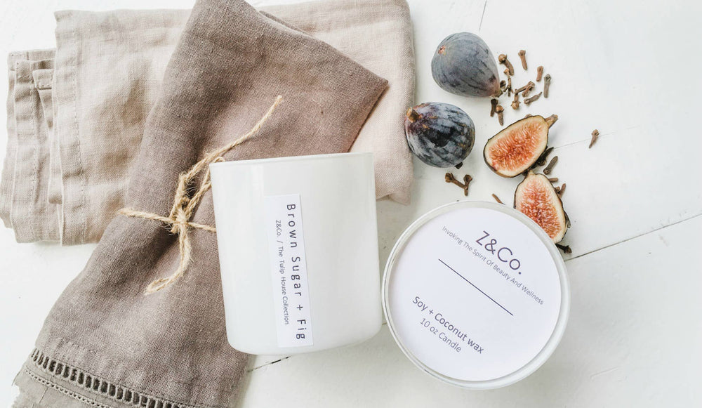 Z&Co. - Brown Sugar + fig White Tulip Collection Candle
