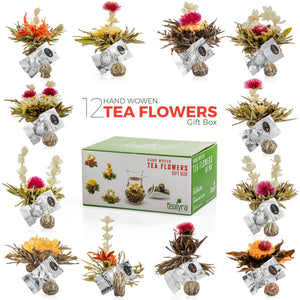 TEALYRA - Flowering Blooming Tea Gift Box, 12 pcs Shapes & Flavors