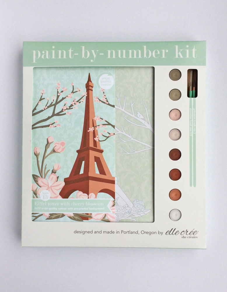elle crée (she creates) - Eiffel Tower with Cherry Blossoms Paint-by-Number Kit
