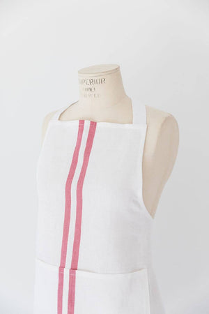 Heirloomed Collection - Grain Stripe Red Bistro Apron
