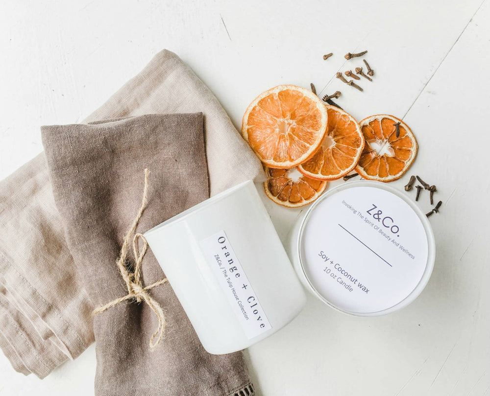 Z&Co. - Orange+ Clove White Tulip Collection candle