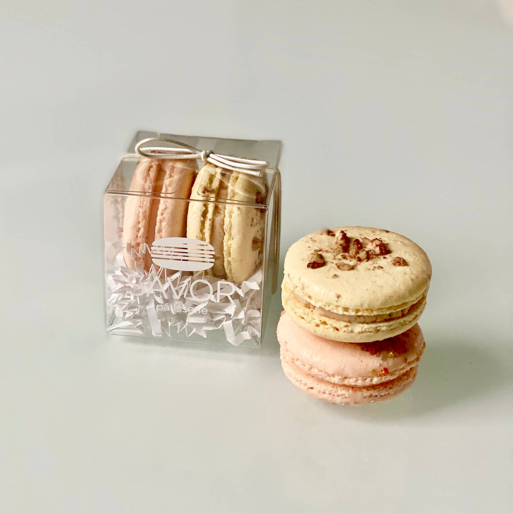Savor Patisserie French Macarons - Butter Pecan & Champagne French Macarons 2-Piece Favor Box