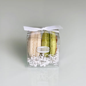 Savor Patisserie French Macarons - Pistachio & Vanilla French Macarons 2-Piece Favor Box