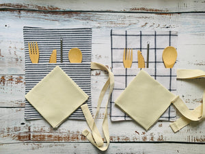 Dot and Army - Zero Wase Utensil Wraps- stripes and windowpane