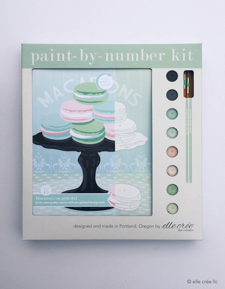 elle crée (she creates) - Macarons on Pedestal Paint-by-Number Kit