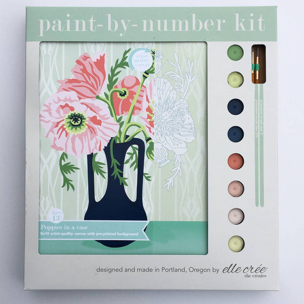elle crée (she creates) - Poppy Blooms Paint-by-Number Kit