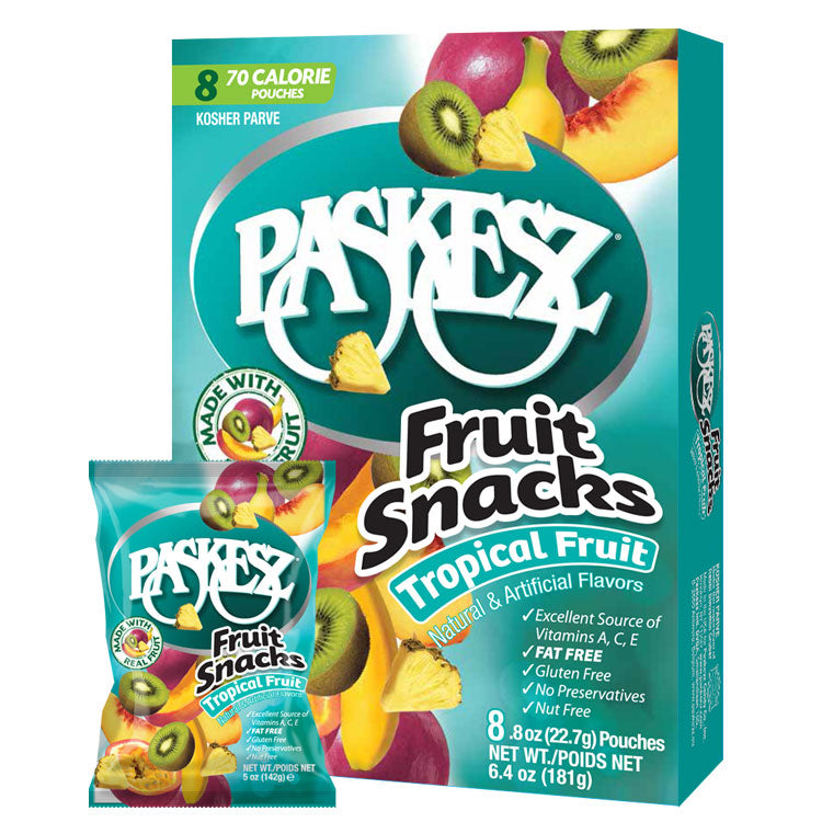 Paskesz Fruit Snacks Tropical Fruit 8 Pack 181Gr