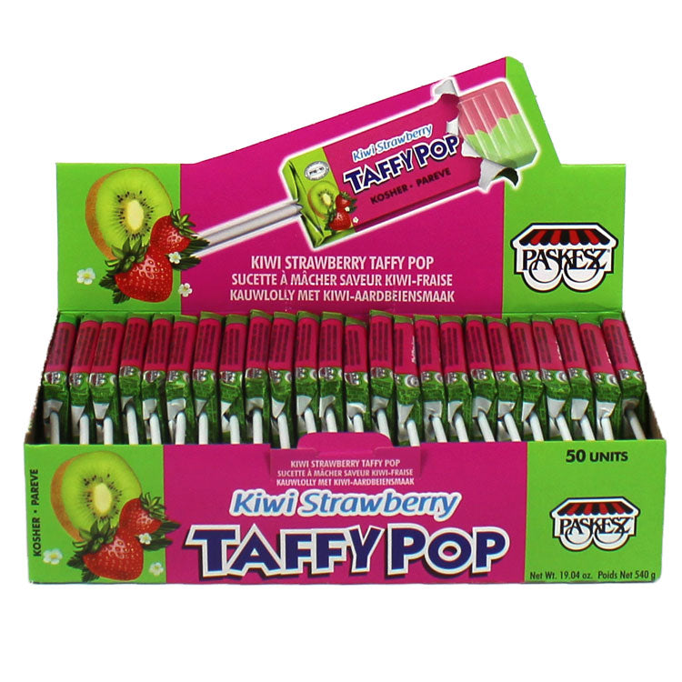 Paskesz Taffy Pops Kiwi Strawberry Display Box 50Pk 540Gr