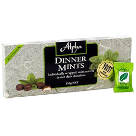Alpha Chocolate Dinner Mints Gift Box 250Gr