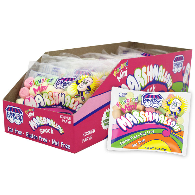 Paskesz Marshmallows Mini Flavoured Snack Display Box 28Gr 24 Packs