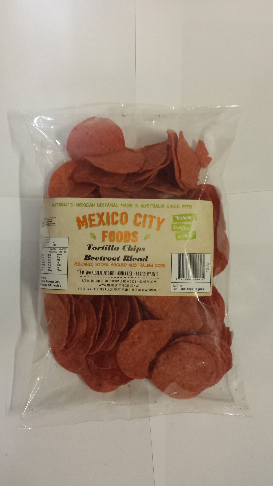 Mexico City Foods Round Tortilla Corn Chips Beetroot 180g