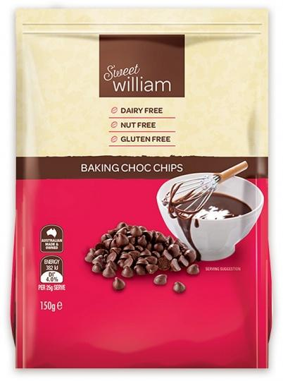 Sweet William Baking Chocolate Chips 150Gr