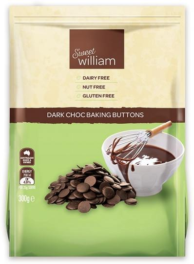 Sweet William Buttons Dark Chocolate Baking 300G