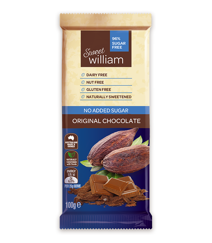 Sweet William Chocolate Original No Added Sugar 100Gr