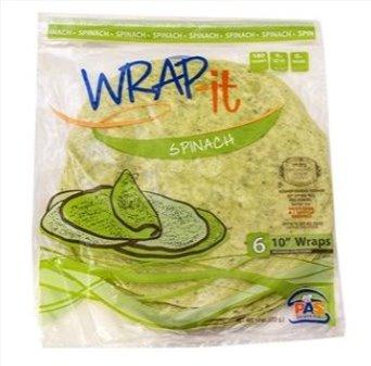 Wrap It Mezonos Spinach Wraps 10-Inch 6Pk