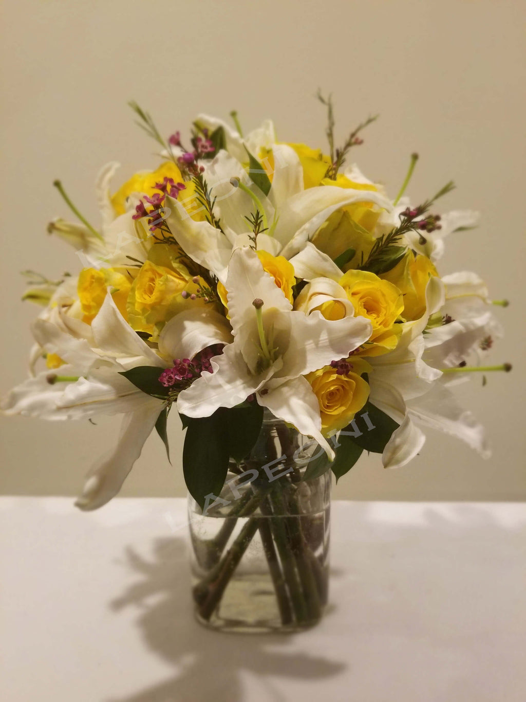 Sunny Lily - Send Flowers -with lilies and yellow roses by  Lapeoni Flowers and Events