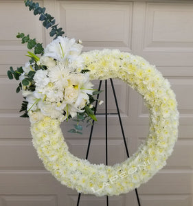 Sympathy Round Wreath on Stand - Lapeoni Flowers and Events